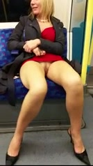 Nastiest blonde ever shows off her labia in the train