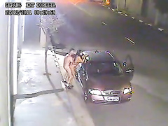 Naked couple gets out of the car to have sex