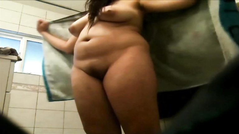 Hot fatty got secretly filmed in the bathroom