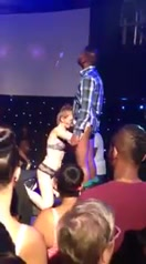 Pale fangirl gives the black guy a public blowjob