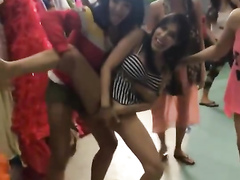 Hypnotic chicks doing erotic poses in the backstage