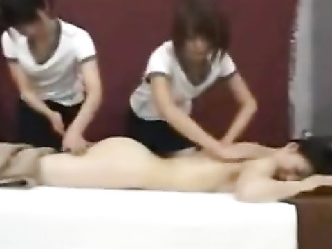 Fascinating women practicing a massage therapy