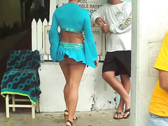 Blonde in the blue skirt has a fascinating body