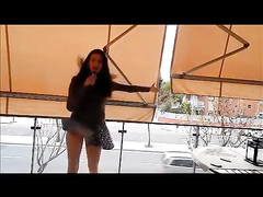 Lovely singer has problems with the wind