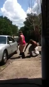 Chubby woman has her pants pulled down by a kinky guy