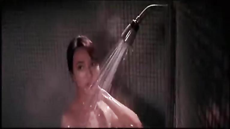 Stunning brunette bombshell showers completely naked