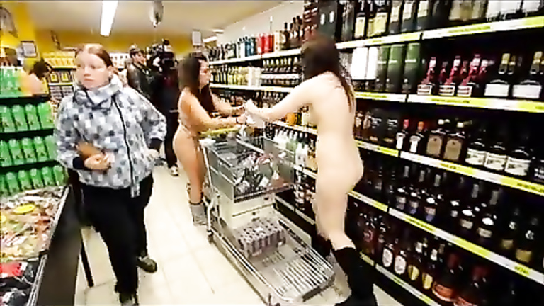 German nudists buying in the store