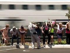 Crazy people flashing their butts to the train