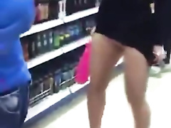 Adorable blonde girl got sharked in the supermarket