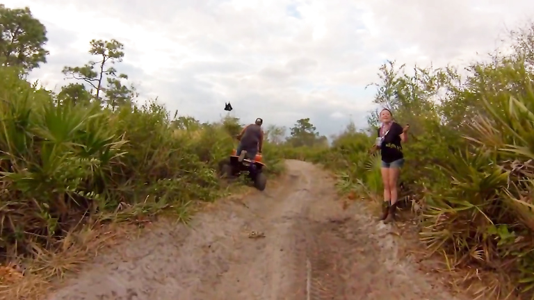 Ladies taking a pee on a quadbike adventure