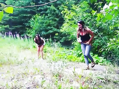 Chicks caught urinating in the wilderness