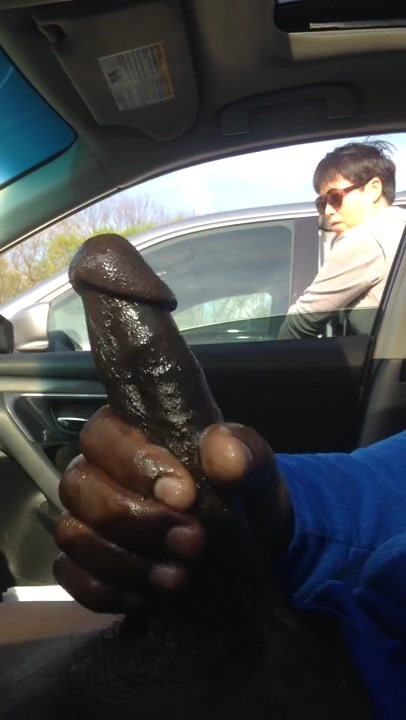 She totally saw his large chocolate dick!