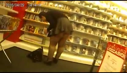 Nice upskirting in the video game store