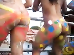 Colorful party girls exhibiting their juicy butts