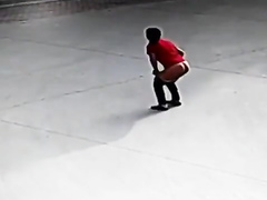 Naughty woman squats and takes a liquid shit hard on the concrete