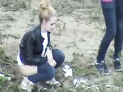 Group of desperate German girls enjoys peeing in the woods