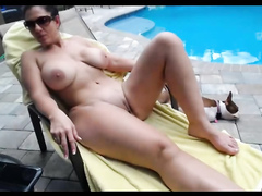 Mature beauty with big naturals gets screwed by the pool