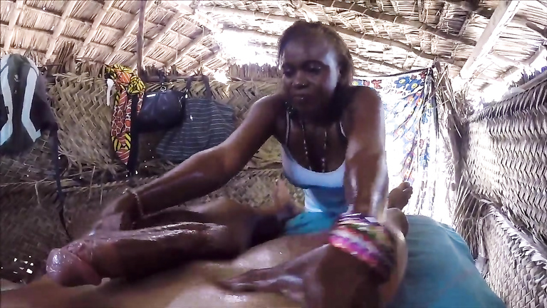 African masseuse makes a BBC explode inside of her mouth