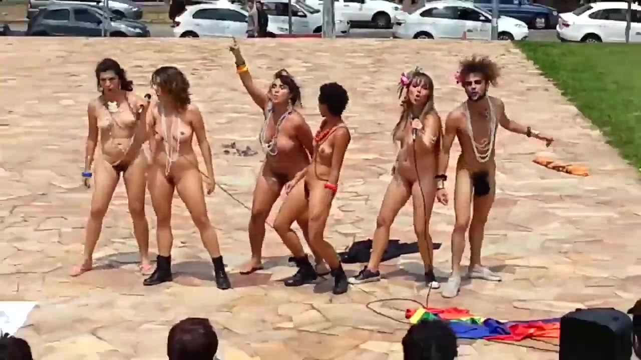 Five girls and one stud perform in front of people naked