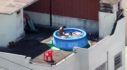 My pervy neighbor bangs his foxy GF in a portable pool