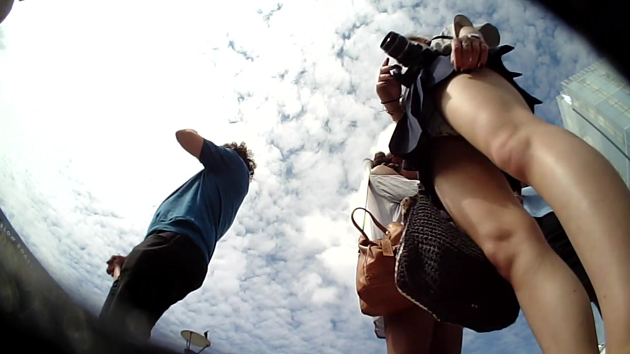 Beautiful traveler reveals her underwear to a well-hidden camera