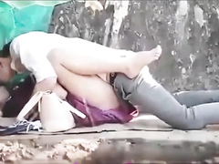 Asian coed girl gets screwed in the city park