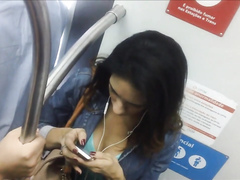 Seductive cutie has her panties recorded while riding in a train