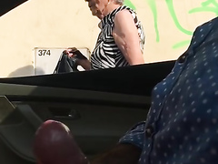 Kinky exhibitionist stroked his cock when an elderly lady passed by