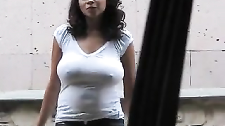 My large-breasted GF removes the bra underneath her shirt