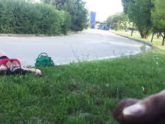 I jerk off on a wasted girl relaxing by the road