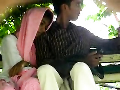 Foxy Desi girl gives her friend a handjob in public