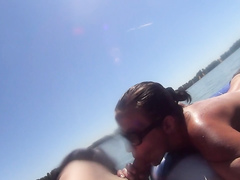 Desirable GF wearing sunglasses gives head in the lake