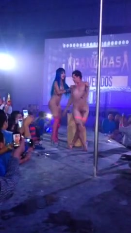 Ravishing stripper bangs a horny man on the stage