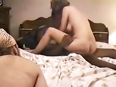 Hot wife rides on a BBC while I jerk off