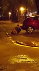 Sexually active amateurs enjoy copulating behind a car