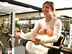 My fitness trainer whips her tits out and works out in the gym