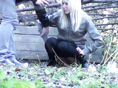 Slim girlfriend caught peeing in the city park