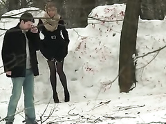 Russian maid gets caught peeing in the snow