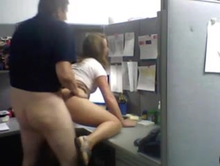 Young office worker gets pounded by her boss on the desktop