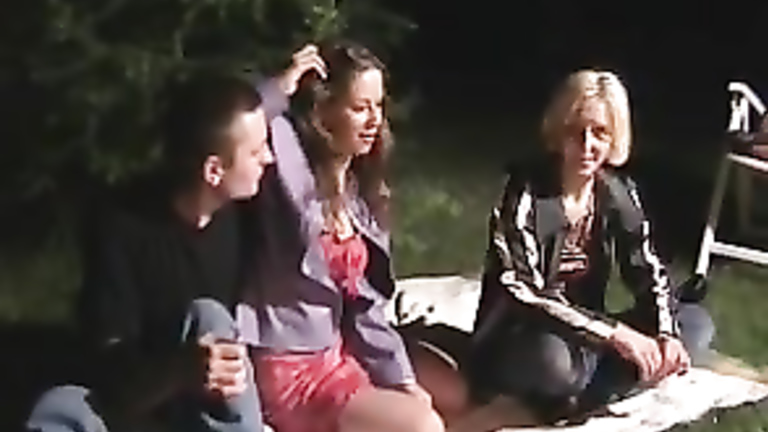 Camping trip threesome featuring two cute maidens