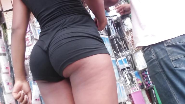 Ebony goddess wearing black shorts has an unbelievable piece of ass