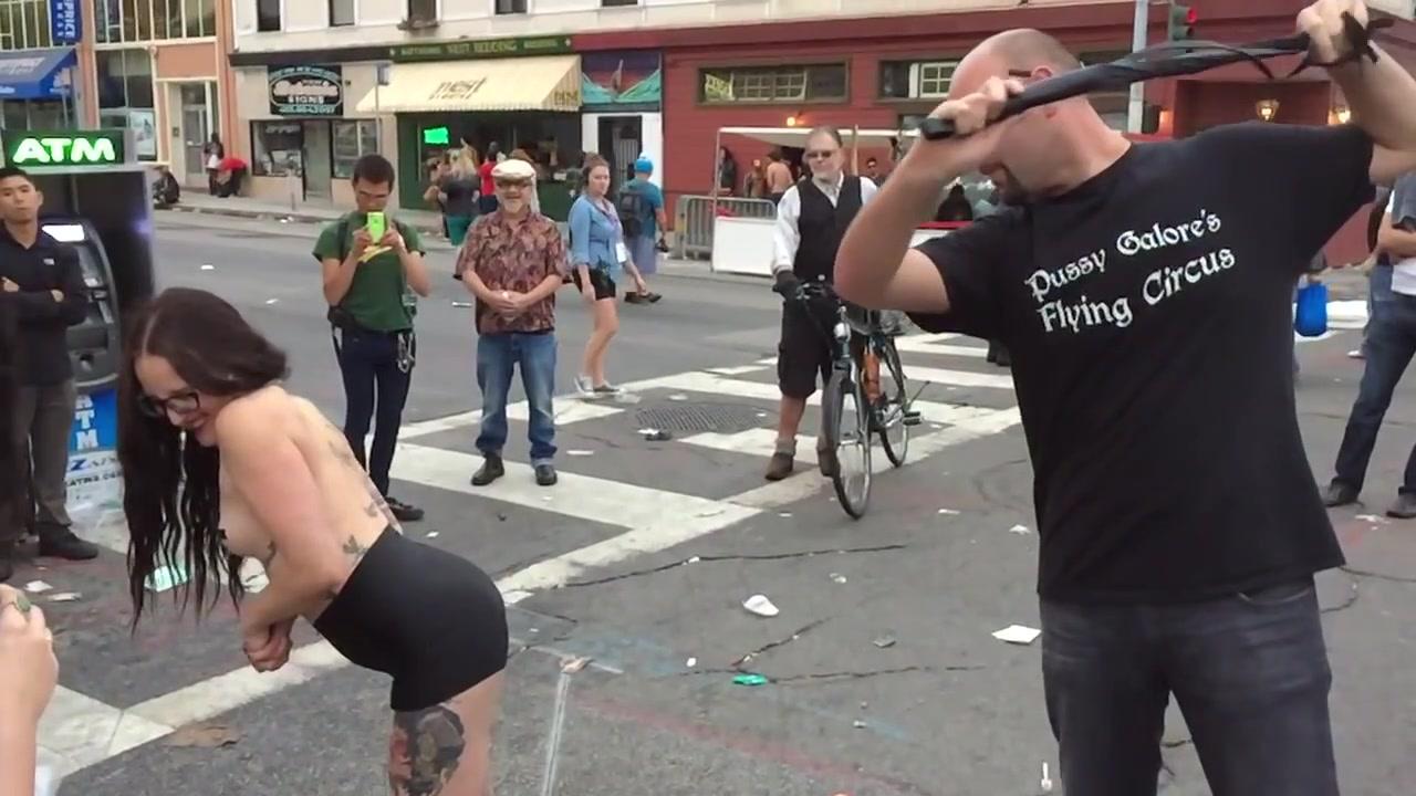 Nude women whipped in public