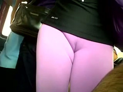Perfect cameltoe pussy through spandex on train