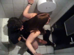 Young slut in a skirt rides wiener in the college toilet