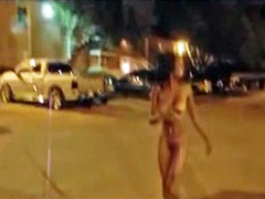 Black girl walks naked through the neighborhood