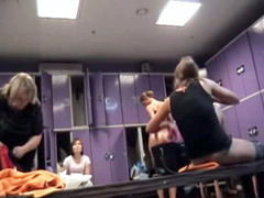 Hidden cam in locker room films female bodies