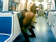 Homeless black woman pisses on the train and soaks the floor