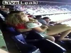 Girlfriend fingered at the ball game by her man