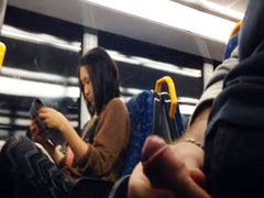 Masturbating on the train to a cute Asian girl