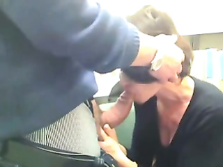 Sexy co-worker sucks the big cock at the office